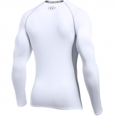 UA HeatGear Armour Long Sleeve Compression Shirt, White/Graphite